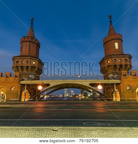 Oberbaum Bridge, Berlin, Germany At Night