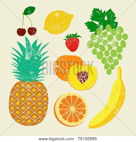 Collection of retro fruits. Vintage vector set of fruits