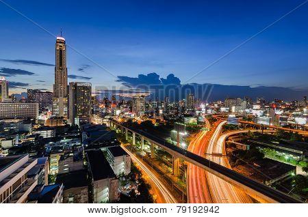 Sunset In Bangkok With Baiyok Tower