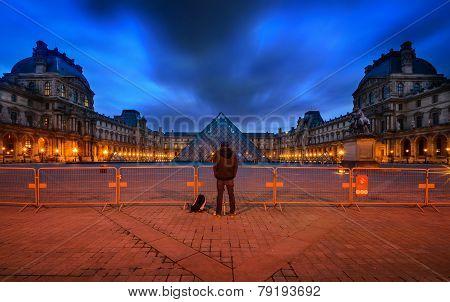 France, Paris - April 14 : Louvre Museum At Twilight Time On April 14, 2013 In Paris, France. The Ph
