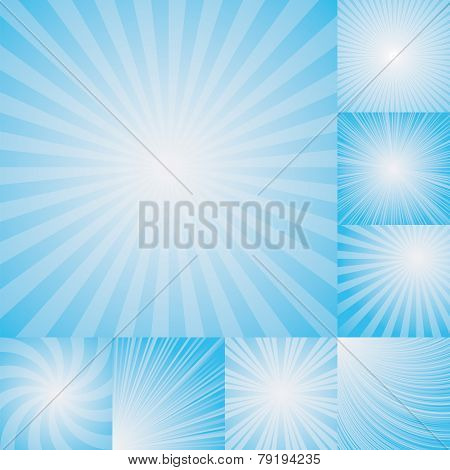 collection of light blue color burst background.