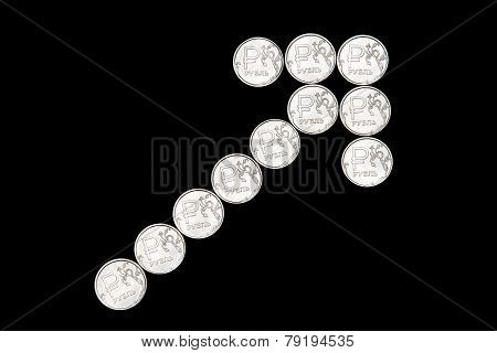 Up Arrow Made Of Russian Ruble Coins