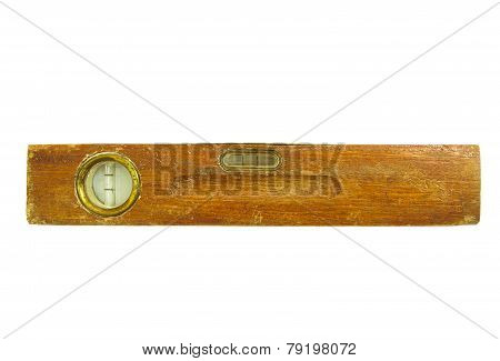 Old vintage wooden water level isolated on white