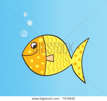 Gold cartoon fish