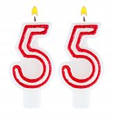 pic of fifties  - Birthday candles number fifty five isolated on white background - JPG