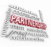 stock photo of partnership  - Partnership 3d word collage background with affiliation - JPG
