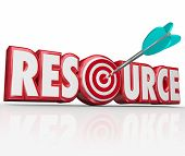 picture of bullseye  - Resource word in red 3d letters with arrow in target bullseye to illustrate an information collection - JPG