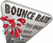 image of bouncing  - Bounce Rate words on a thermometer or gauge measuring the rate of abandonment as visitors or audience leaves your website or online page or resource - JPG