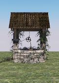 picture of wishing-well  - 3D digital render of an old wishing well on blue sky background - JPG