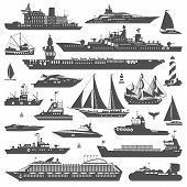 stock photo of sailing-ship  - Super set of water carriage and maritime transport in modern flat design style - JPG