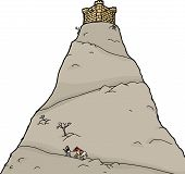 picture of knights  - Knight going up isolated mountain toward castle - JPG