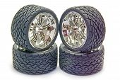 pic of four-wheel drive  - Four street tyres for a radio controlled car - JPG