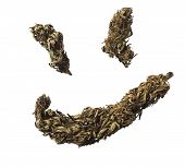foto of ganja  - Ganja smile concept isolated on a white background - JPG