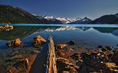 picture of driftwood  - Driftwood laying in a crystal clear mountain lake - JPG