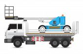 stock photo of boom-truck  - Illustration of boom lift on heavy truck - JPG