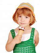 beauty little girl with ice cream