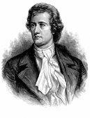 stock photo of rudolf  - Engraved portrait of philosopher Johann Wolfgang von Goethe isolated on white background - JPG