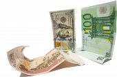 Постер, плакат: currency dollar and euro looking at fallen russian ruble