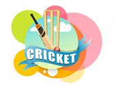 picture of cricket ball  - Colorful stickers with cricket bat - JPG