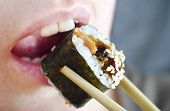 foto of sushi  - sushi and bamboo sticks - JPG