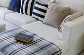 picture of sofa  - large white sofa with pillows and book in living room at home - JPG
