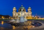 stock photo of dom  - Berlin Cathedral (Berliner Dom) panorama at Night with fountain