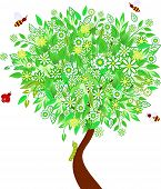 picture of green caterpillar  - green leaves spring tree and white flowers - JPG