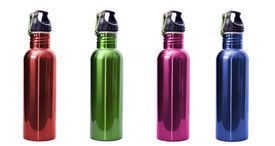 picture of bottle water  - A set of four safe reusable stainless steel water bottles isolated on white background in red green pink and blue - JPG