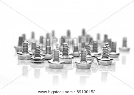 Screws on white background - close-up