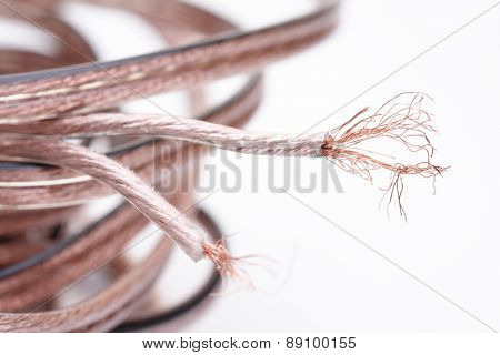 Computer cables on white background