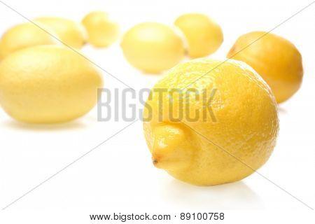 Lemon on white background - close-up