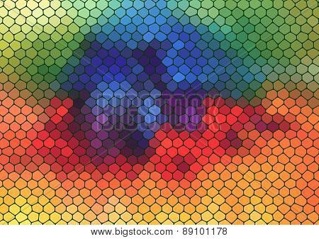 colorful mosaic composition with ceramic shapes
