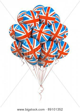 Bunch of Great Britain flag balloons isolated on white background