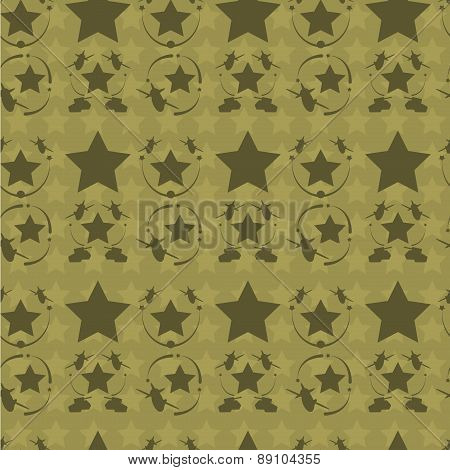 Vintage patriotic  airplane, tank and star seamless texture.    Camouflage colors. Editable vector i