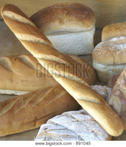 Display Of Bread In Shop Window Of Bakery