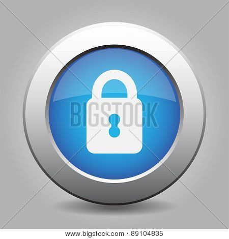 Blue Metal Button With Closed Padlock