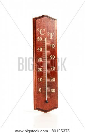 Thermometer on white background - close-up