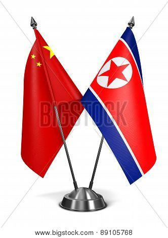 China and North Korea - Miniature Flags.