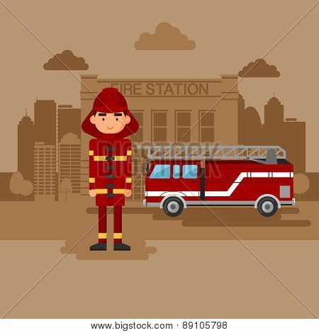 Concept on the subject of the fire station.