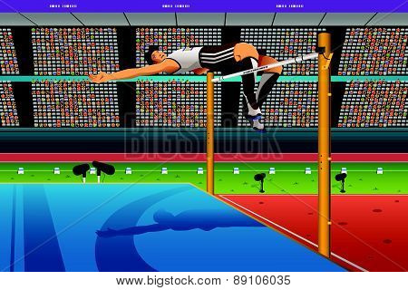 Male High Jumper In Midair Over Bar