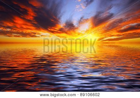 Fiery Sunset Over The Sea