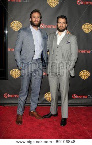 LAS VEGAS - APR 21:  Armie Hammer, Henry Cavill at the Warner Brothers 2015 Presentation at Cinemacon at the Caesars Palace on April 21, 2015 in Las Vegas, CA