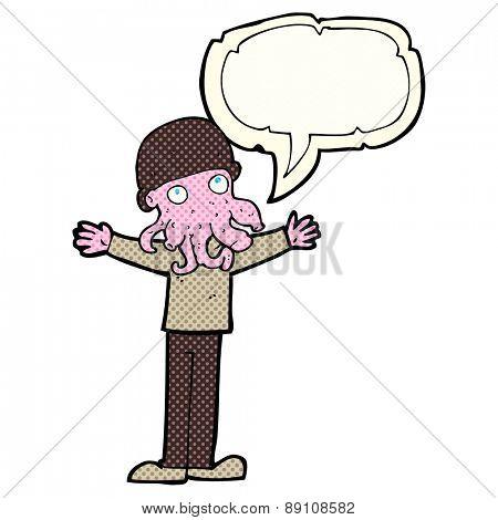 cartoon alien squid face man with speech bubble