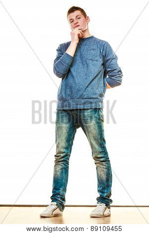 Young Man Casual Style Thinking Isolated