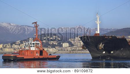 Tug At Working In Harbor Of Genoa, Italy