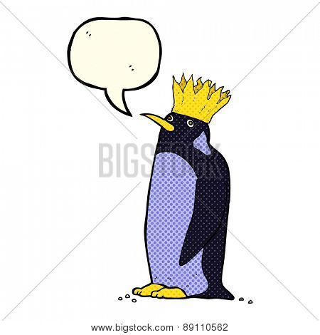 cartoon emperor penguin waving with speech bubble