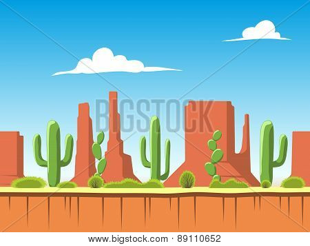 Seamless  Background With Soil, Bushes, Mountains And Cloudy Sky Layers