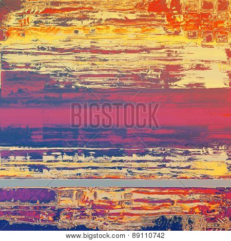 Old abstract texture with grunge stains. With different color patterns: yellow (beige); purple (violet); red (orange); pink