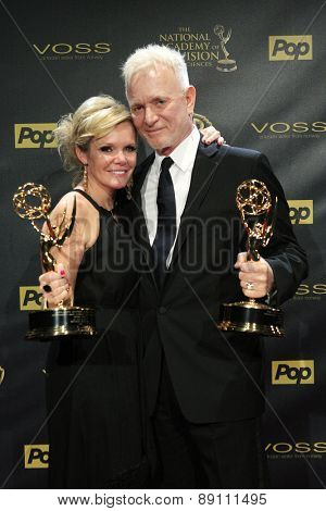 BURBANK - APR 26: Maura West, Anthony Geary at the 42nd Daytime Emmy Awards Gala at Warner Bros. Studio on April 26, 2015 in Burbank, California