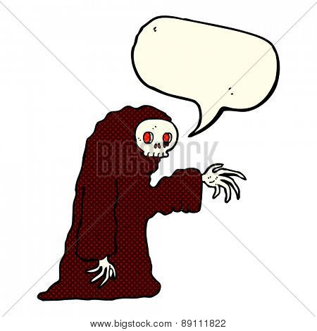 cartoon spooky halloween costume with speech bubble